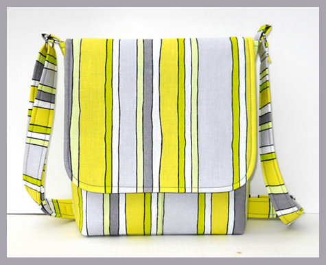 Handmade Striped Messenger Bag from JH Fabric Creations