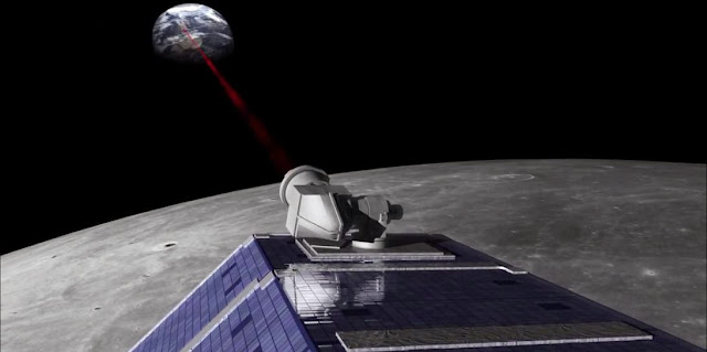 On Oct. 18, 2013, the Lunar Laser Communication Demonstration (LLCD) made history, transmitting data from lunar orbit to Earth at a record-breaking rate. Image Credit: NASA Goddard