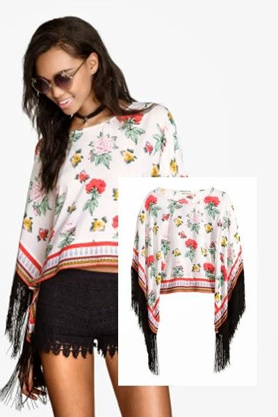 Poncho franjas  H&M - tendencia primavera verão 2015