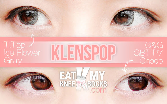 The Eat My Knee Socks/Mimchikimchi intro picture for the Klenspop circle lens review of the Ice Flower Gray and GBT P7 Choco lenses.