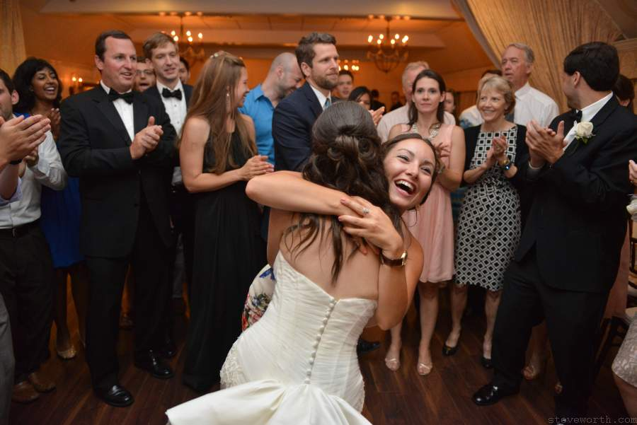 Bride Hugs Friend - Three Village Inn Stony Brook
