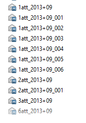 A list of exported emails with the number of attachments shown in their file name.