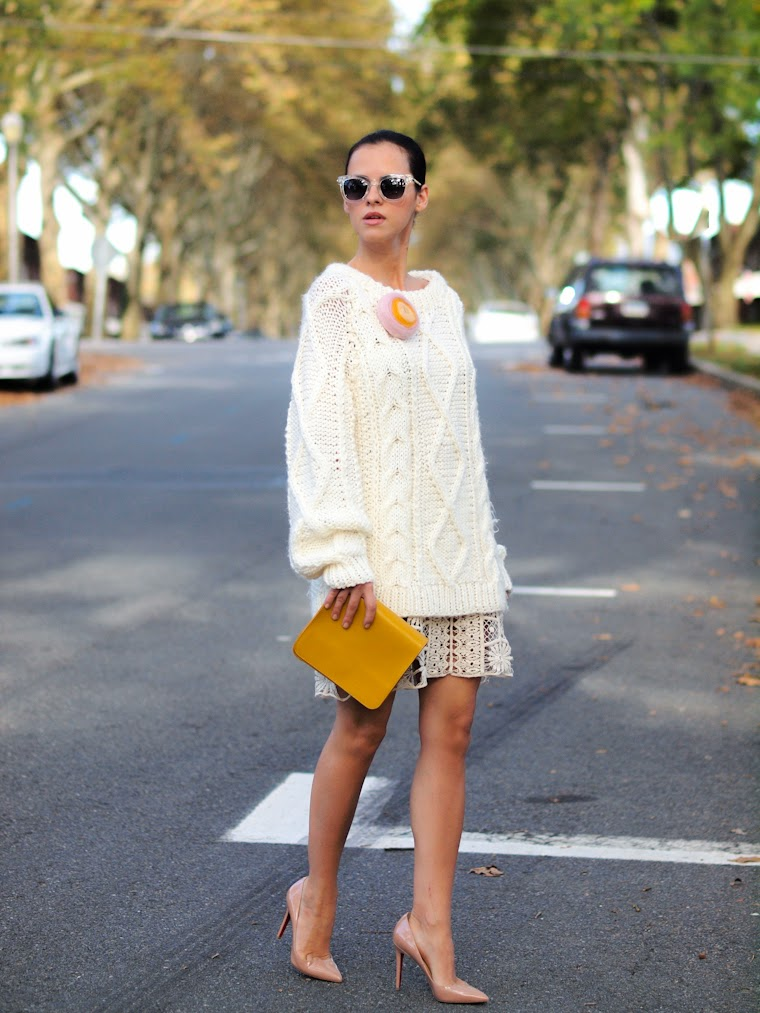 bittersweet colours, Christian Louboutin, chunky sweater, fall 2013, Fall trends, Joe fresh, Lace, street style, white on white, yellow,