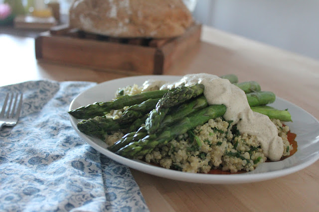 Vegan Asparagus and Roasted Garlic Cashew Cream