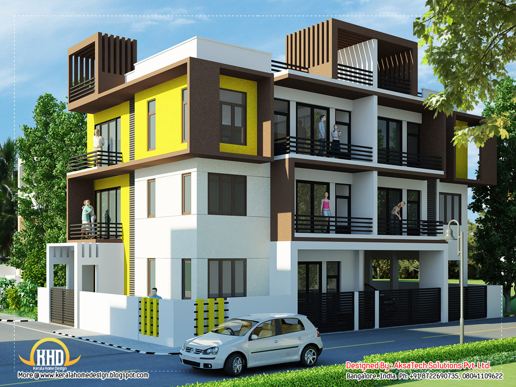 Exterior collections kerala home design 3d views of for 3d view of house