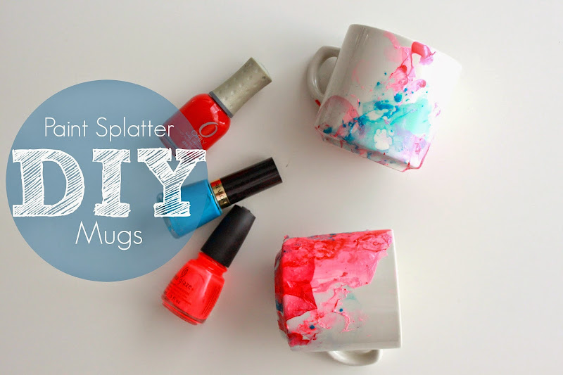 Simple and quick DIY Paint Mugs using nail polish, water and mugs!