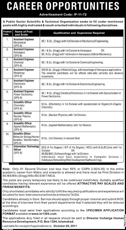 Public Sector Scientific and Technical Organization Islamabad Jobs