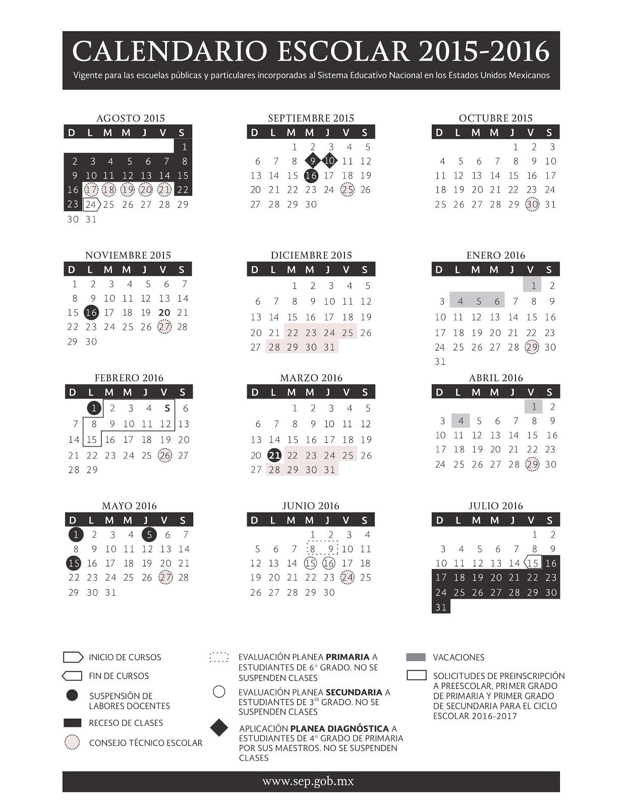 ... : DOF: Calendario Escolar para el Ciclo Lectivo 2015-2016