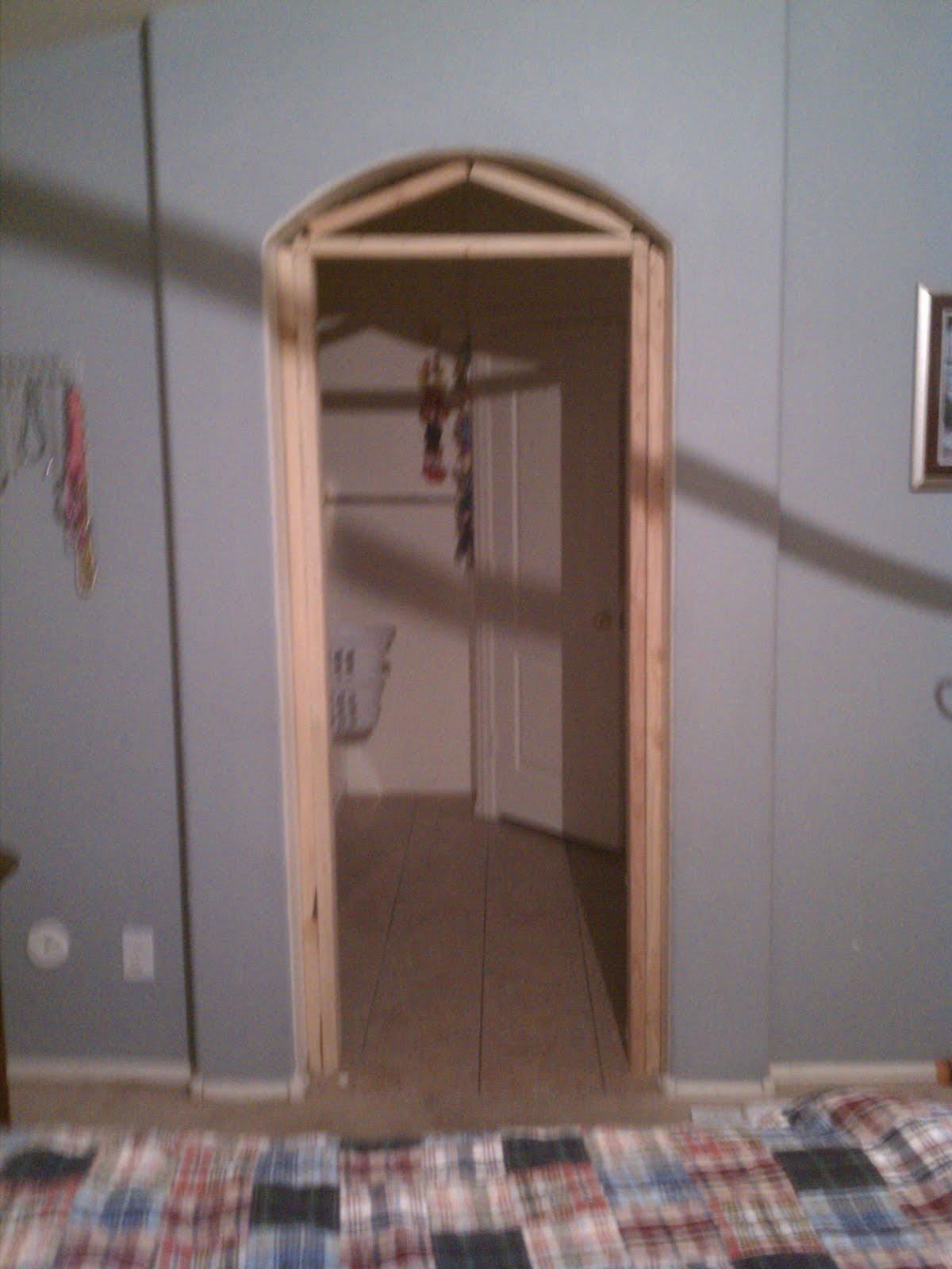 The Orange Jeep Dad Framing A Bathroom Archway to Add A Door