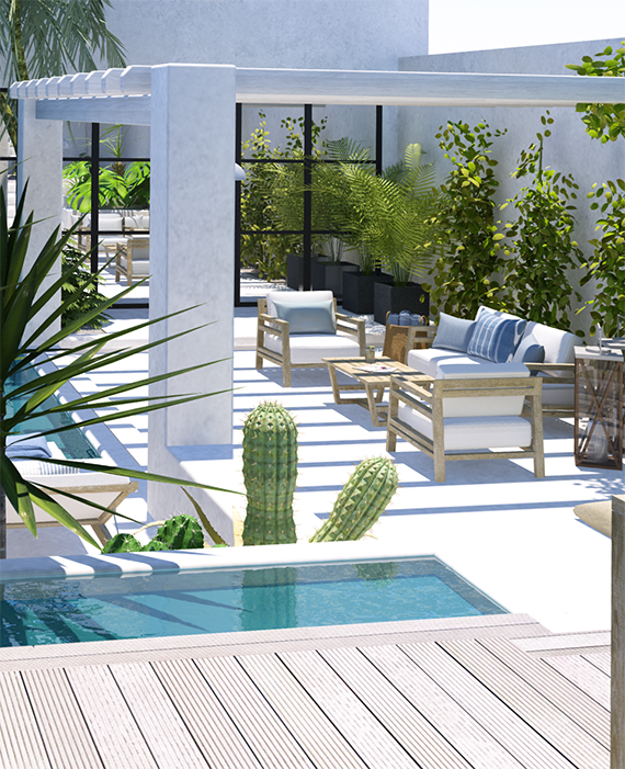 Contemporary tropical backyard with houseology my paradissi for Patios modernos con piscina