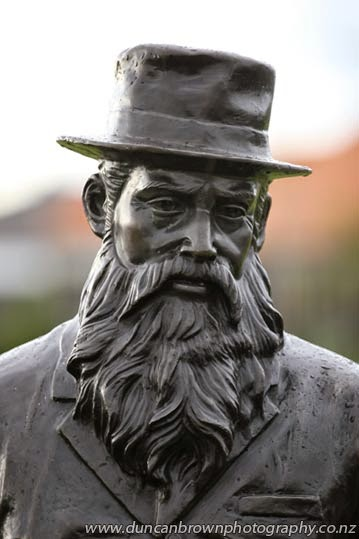 "Face of a father - William Nelson, referred to as ""The Father of Hawke's Bay"" was a generous benefactor and created employment and wealth through the Tomoana Freezing Works, which helped build the economic prosperity of Hastings in the late 1800s and early 1900s. photograph"