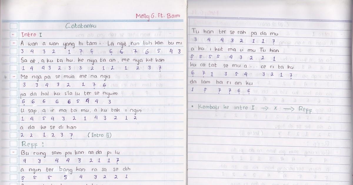 """catatan not lagu - melly goeslaw ft. baim, """"catatanku"""" (piano ..."""