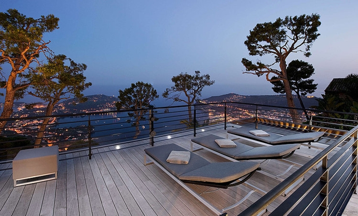 Balcony view of Modern Bayview Villa In French Riviera
