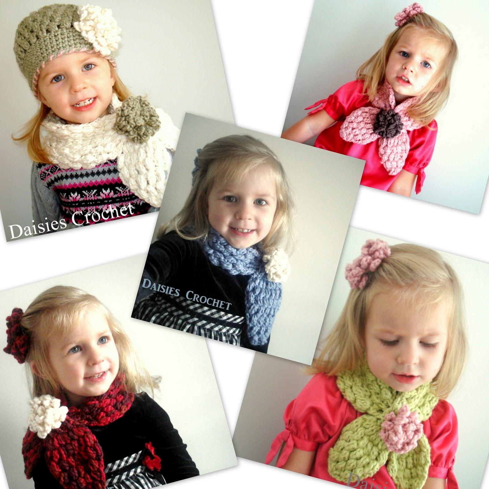 Daisies Crochet: Crochet 2 pdf patterns PUFFER HAT and SCARF set.