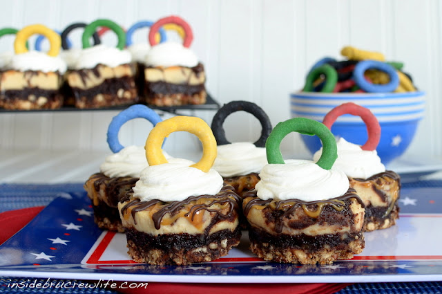 Caramel Pretzel Cheesecake Brownies...Olympic Style