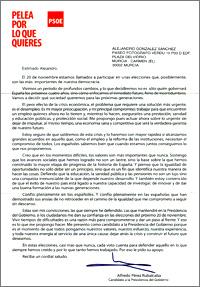 carta de propaganda electoral enviada por el PSOE y escrita por Alfredo Pérez Rubalcaba