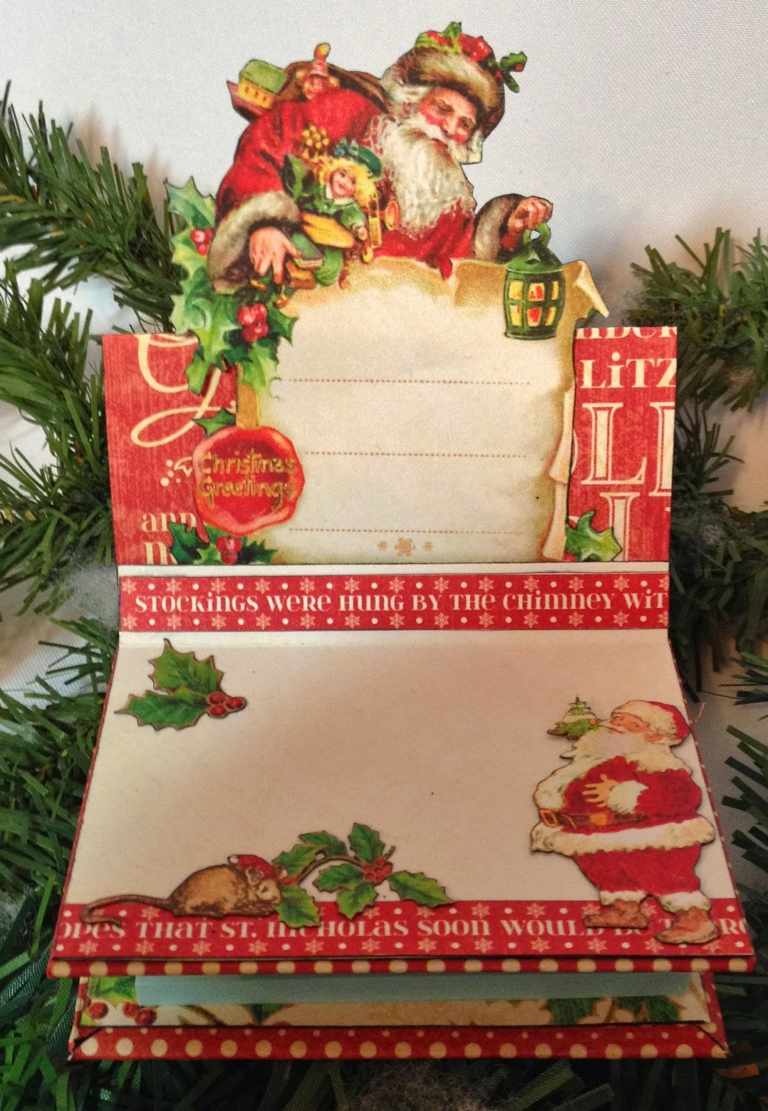 how to make a post it note holder card using twas the night before christmas collection from graphic 45 this are great to use for small gifts ideas - Twas The Night Before Christmas Decorating Ideas