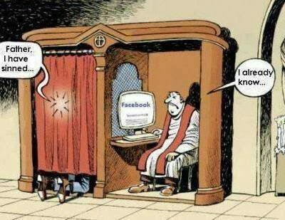 Funny Catholic Priest Confession Facebook Cartoon - Father, I have sinned. I already know!