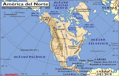Mapa fisico de Norteamerica
