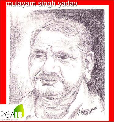 mulayam singh yadav pen sketch portrait pga18 gajraula harminder singh chahal