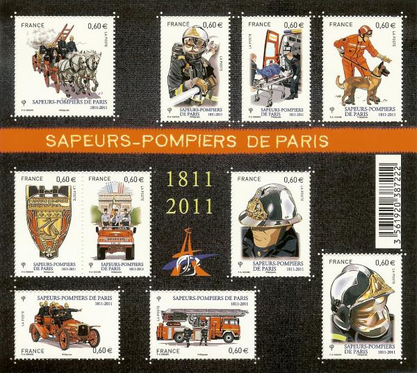 mini sheet of stamps showing firemen and services