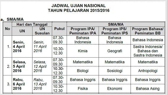Jadwal UN SMA/MA/SMK/sederajat tahun 2016