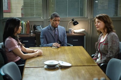 Margaret Colin as Natalie Gale with Lucy Liu and Jon Michael Hill in CBS Elementary Season 2 Episode 8 Blood is Thicker