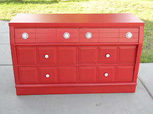 Red Shabby Chic Dresser  *SOLD*