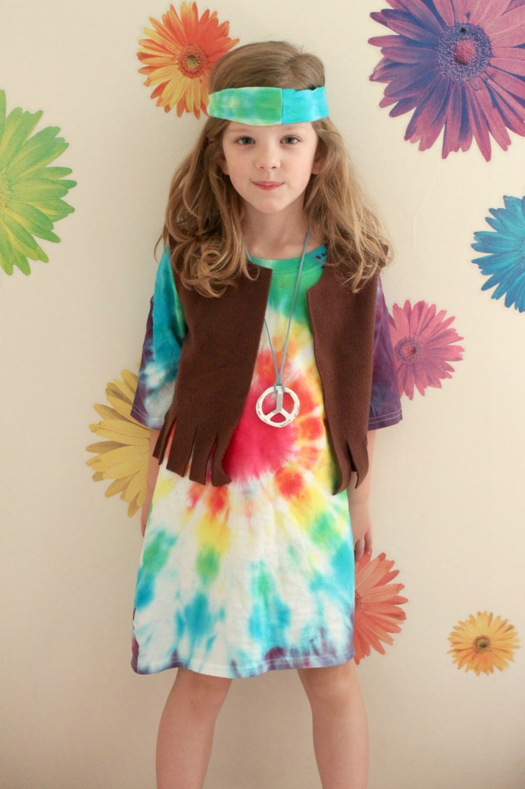 How about making a hippie costume?  he asked. Brilliant! I grabbed an extra large youth shirt and some other supplies and turned my daughter into a little ...  sc 1 st  eat+sleep+make & EAT+SLEEP+MAKE: Kidu0027s Hippie Costume Tutorial