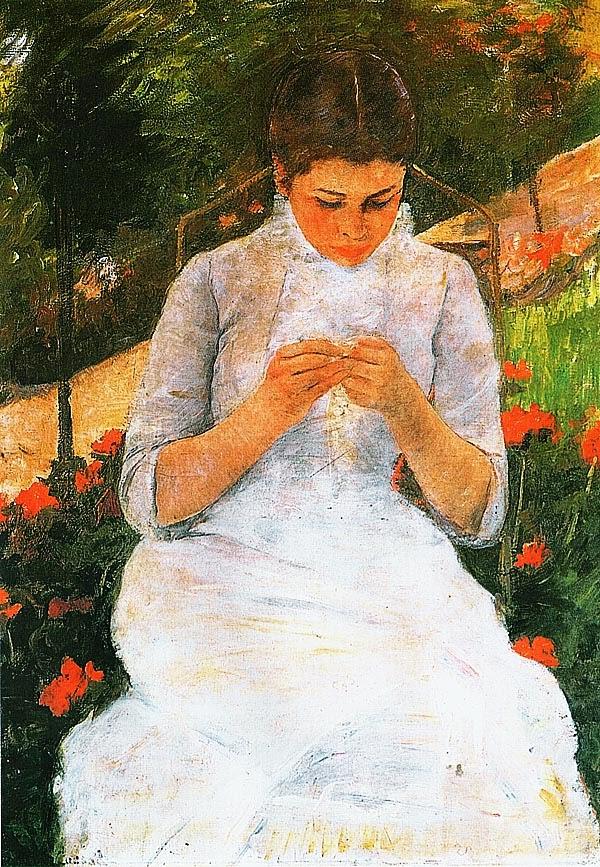 Мэри Кэссет. За вязанием. Ок. 1880-1882.
