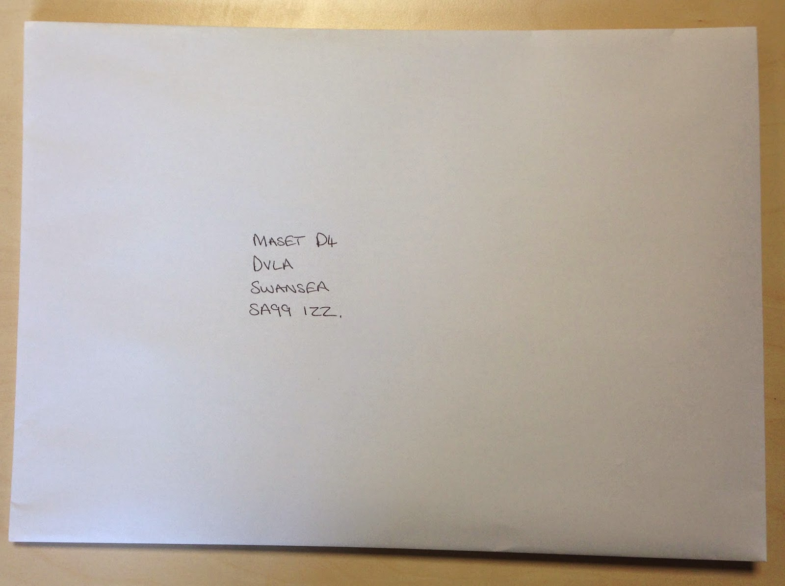 The envelope of documents addressed to the DVLA.