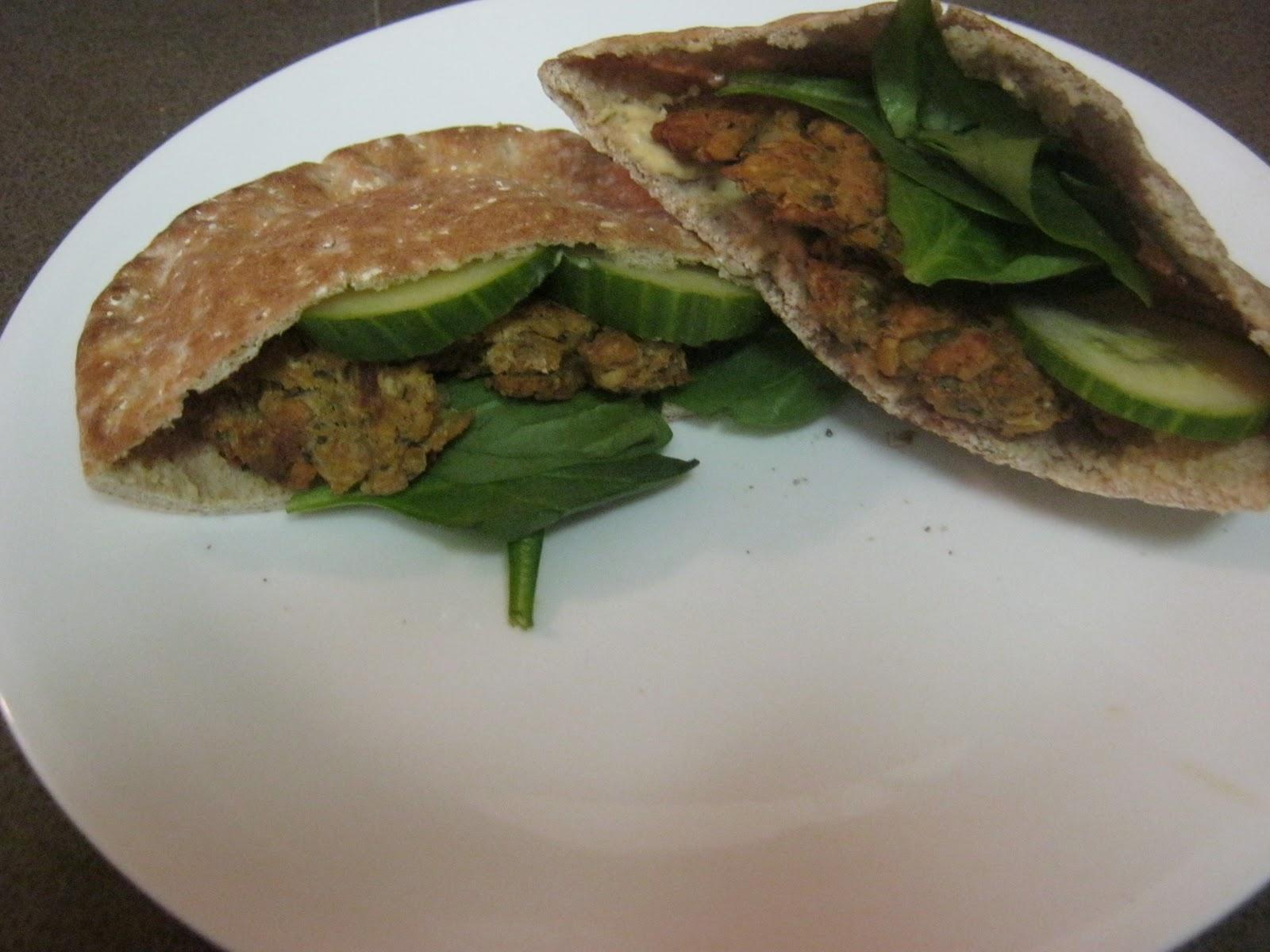 Baked Falafel Pita Sandwich | Fatfree Vegan Recipes