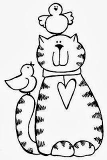 desenho de gatinho e passaros estilo country para pintar