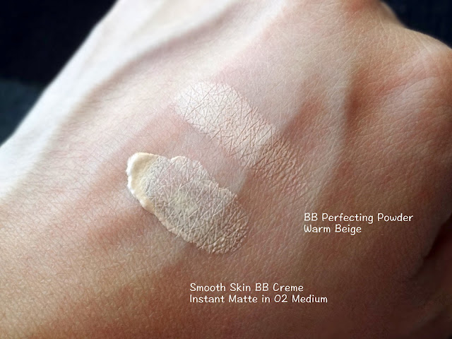New York Color's Smooth Skin BB Creme Instant Matte  and BB Perfecting Powder Swatches