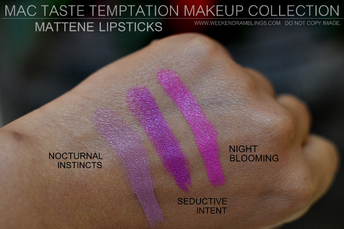 MAC Taste Temptation Makeup Collection Holiday Gifts Christmas Darker Indian Skin Swatches Beauty Blog Mattene Lipsticks Seductive Intent Nocturnal Instincts Night Blooming