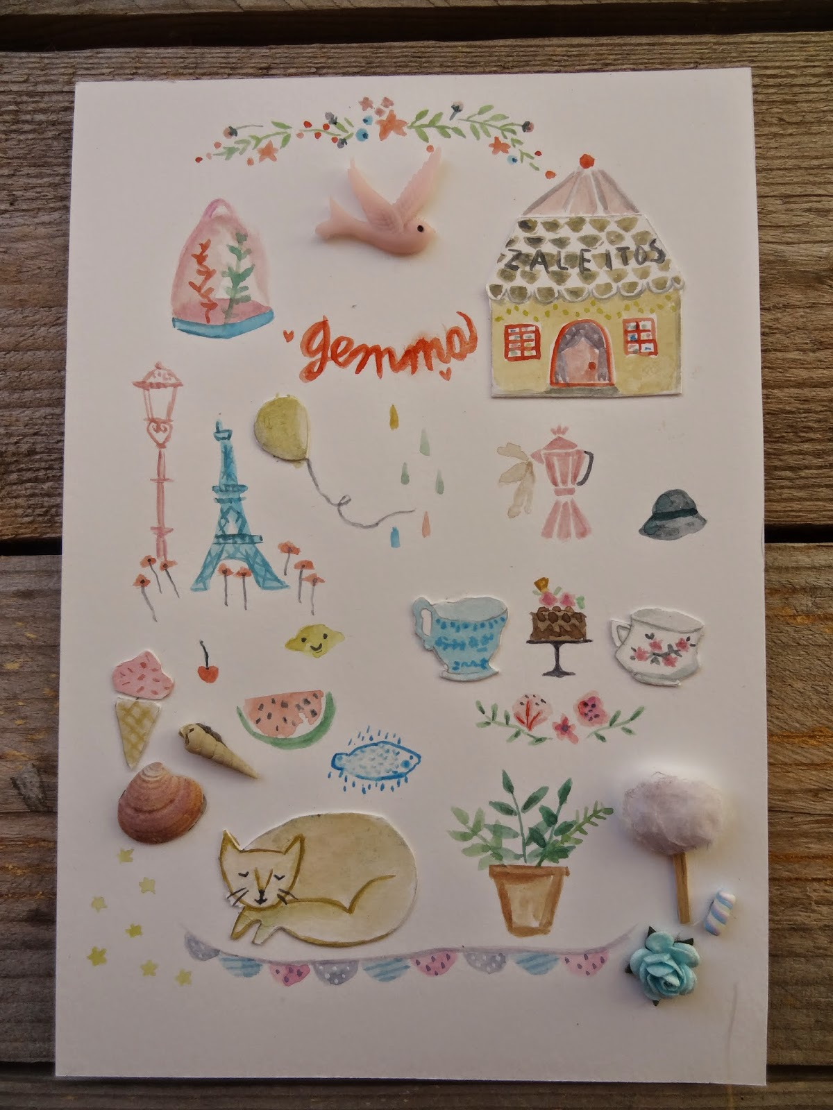 cat sweet craft manualidades gato paris torre eiffel ice cream dibujos paint bird sweets plants garland