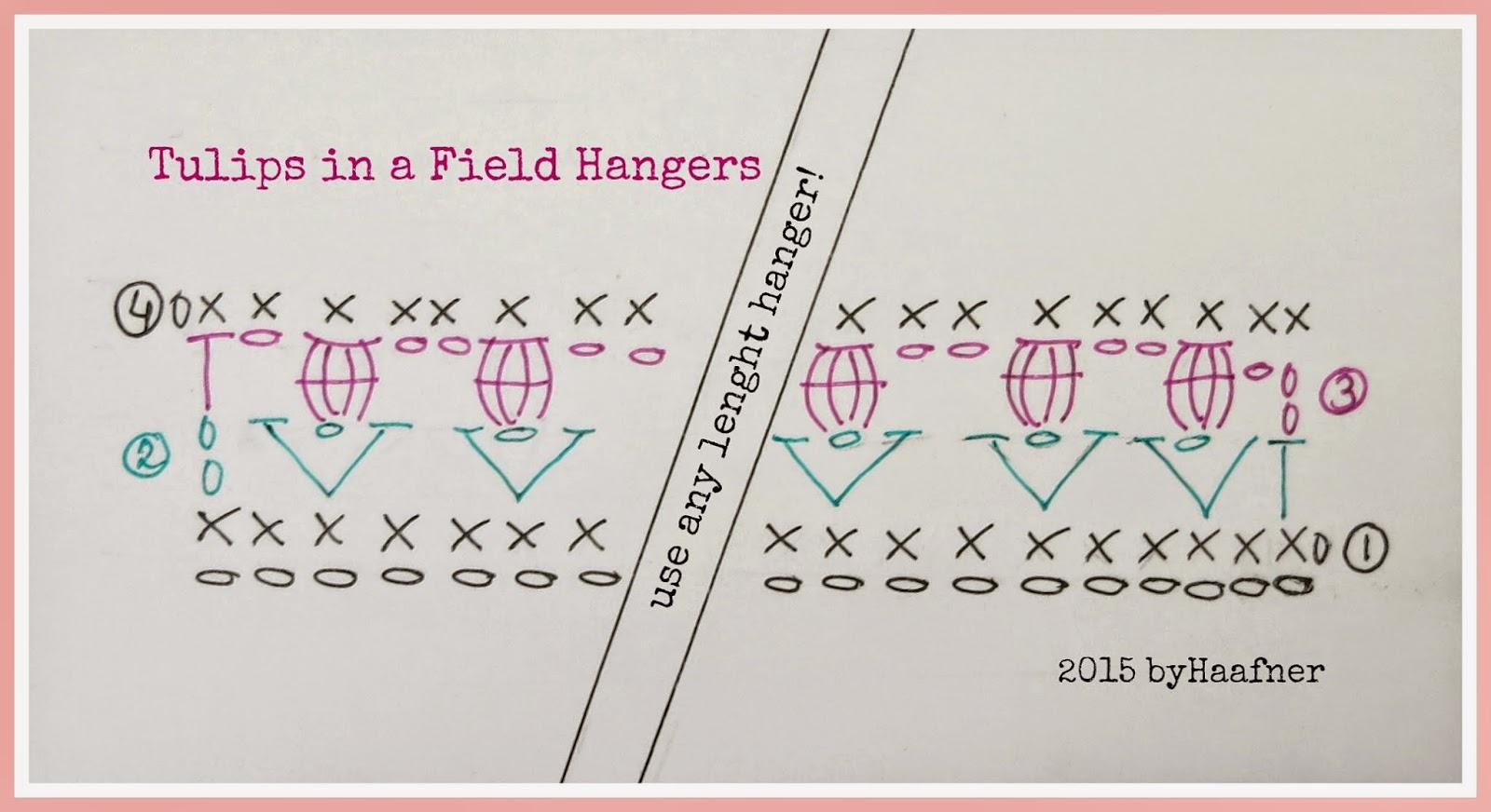 ByHaafner, crochet, pattern, tulips, hangers, cluster stitch, v-stitch
