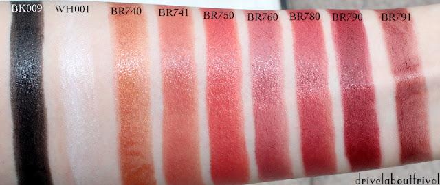 lipstick swatch Shu Uemura BK009, WH001, BR740, BR741, BR750, BR760, BR780, BR790, BR791, BK 009, WH 001, BR 740, BR 741, BR 750, BR 760, BR 780, BR 790, BR 791