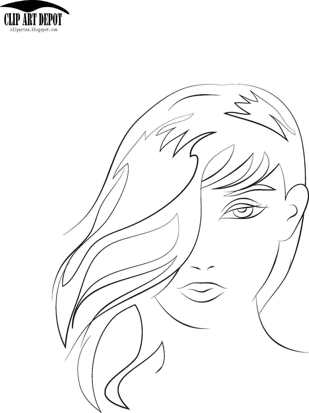 Beauty face girl sketch portrait illustration vector
