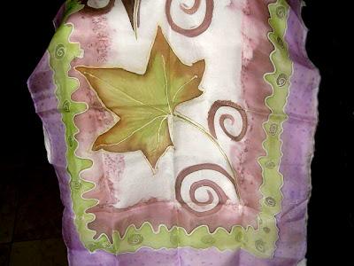 pañuelo de seda pintado a mano, abanico pintado a mano, foular pintado a mano