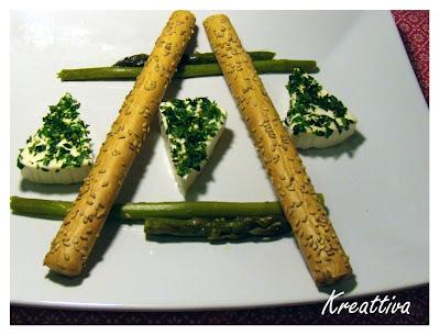 Formaggini aromatizzati con asparagi