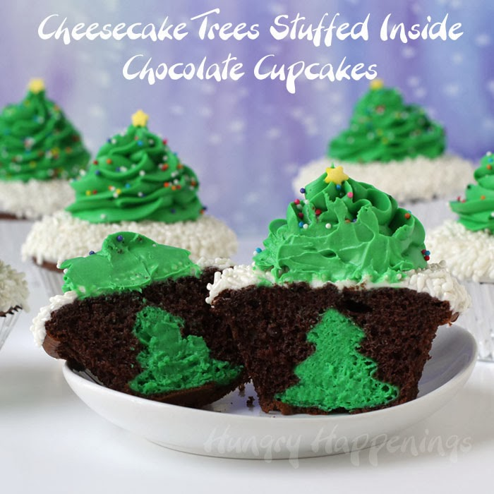 Cheesecake Stuffed Christmas Tree Cupcakes Hungry Happenings