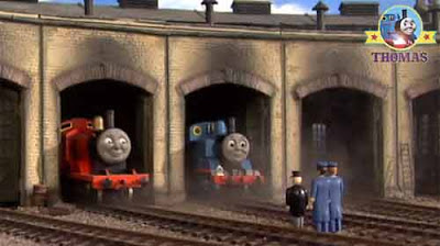 The Fat Controller harvest firework display tank Edward Thomas and James at Tidmouth shed roundhouse
