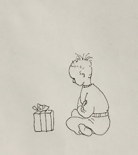 Paul, contemplates, Christmas, Kay, gift, child, pensive, Sarah Myers, S. Myers, ink