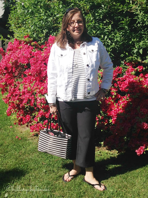 Keeva Capri Pants from Aventura paired with an Ann Taylor striped T and denim jacket from Aventura