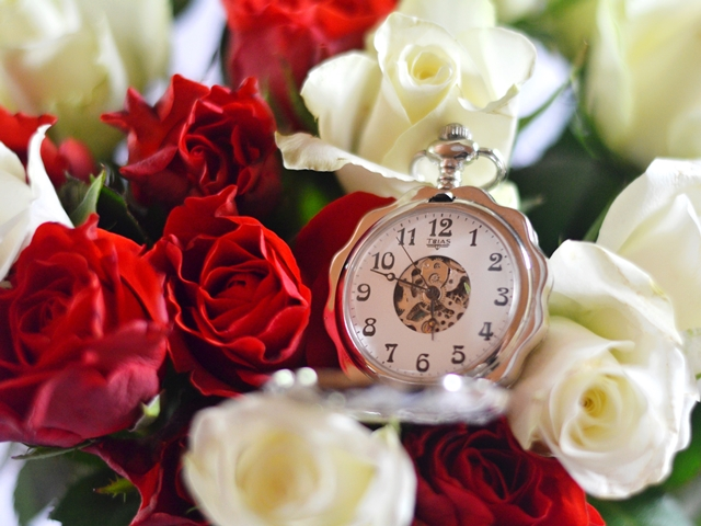 pocket watch roses