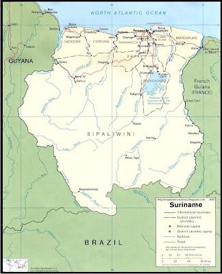 Mapa de los ríos más importantes de SURINAM