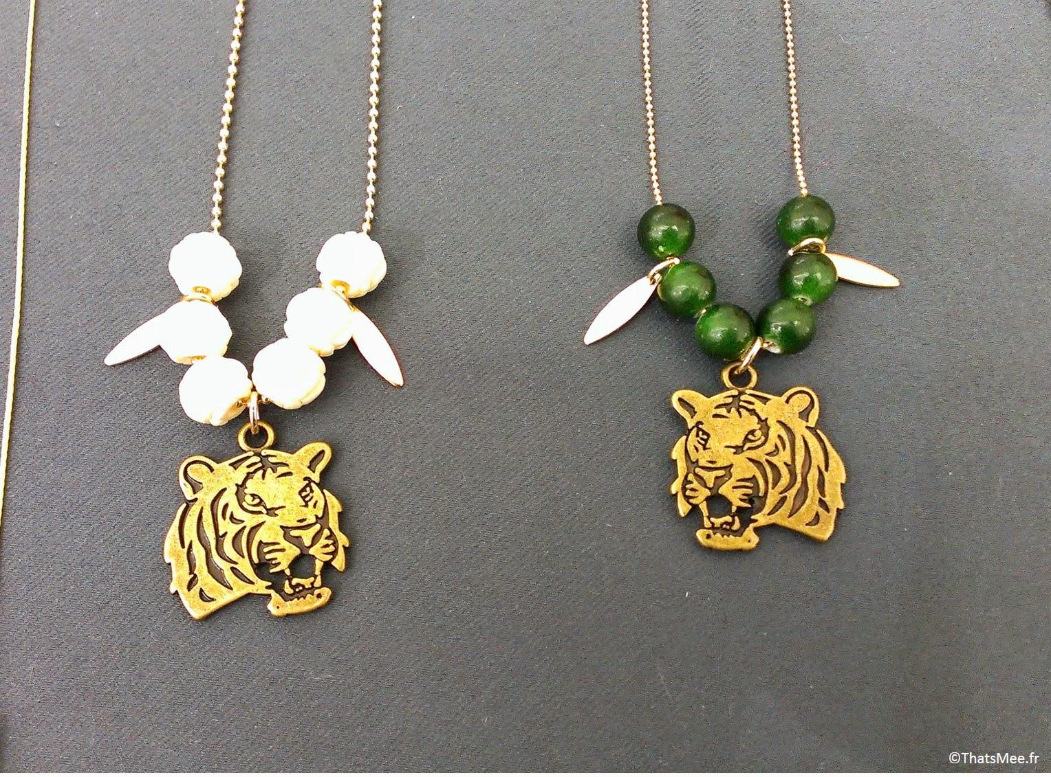 bijoux Pelican bleu sautoirtête de tigre perles The Tops, bijoux Pelican Bleu Boutique éphémère The Tops
