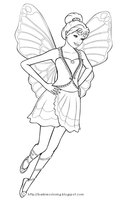 barbie mariposa coloring pages free - photo#20