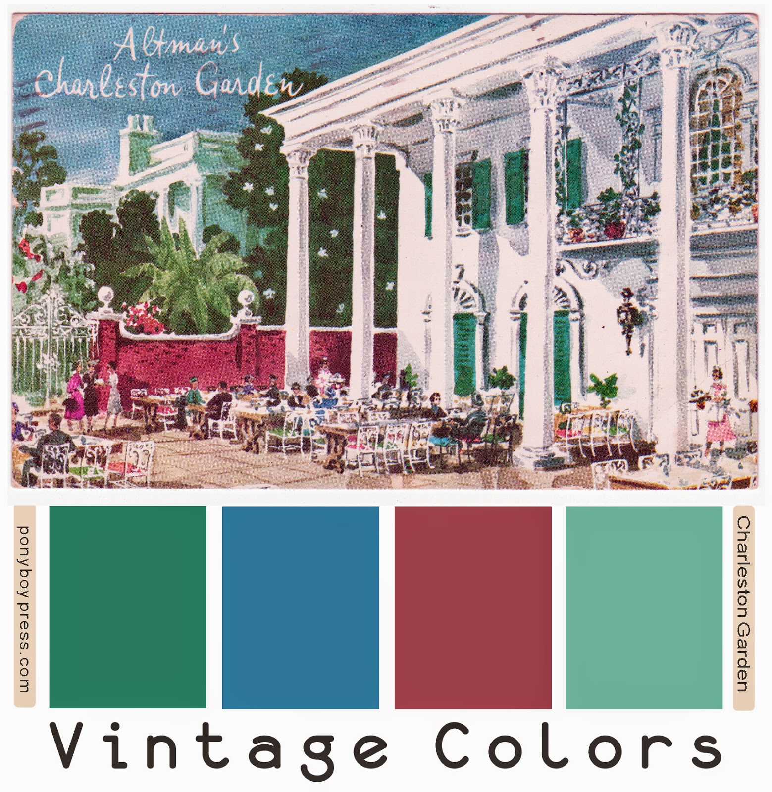 Vintage Color Palette - Mid-Century Advertising Illustration - Altman's Charleston Garden. See more with hex codes on the blog. - Ponyboy Press